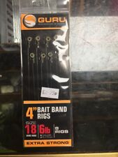 """Guru 4"""" Barbless Method Hair Rigs With Bait Bands size 18"""