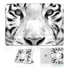 ( For iPad 2 3 4 ) Front Back Case Cover PB40076 White Tiger