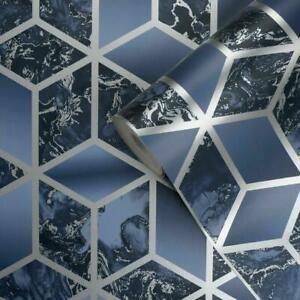 Muriva Elixir Cube 3D Effect Metallic Silver Navy Marble Wallpaper 166512
