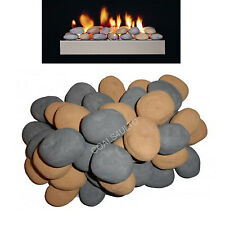 FIREPLACE 10 GREY BEIGE PEBBLES GAS FIRE REPLACEMENT STONES CAST FOR COAL FIRE