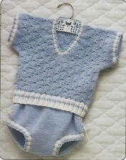 Knitting Pattern ~ Baby Boys Bowknot Sweater & Panties Outfit ~ Instructions