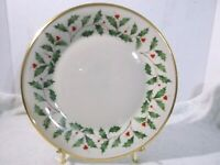 """Lenox Holiday Dimension 10.75"""" Dinner Plate Holly Berries Christmas Gold Rim"""