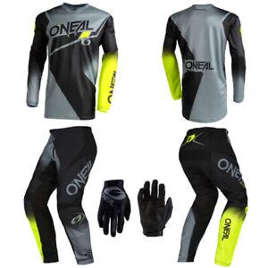 O'Neal Element Gray Jersey Pants Gloves motocross dirt bike riding package set