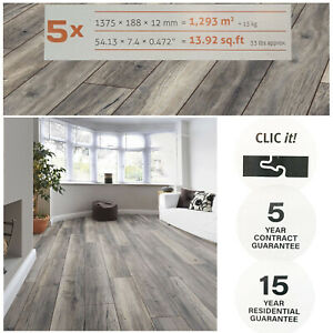 Clearance Laminate Flooring 12mm Thick Harbour Oak Grey 5 in Pack Quality Vinyl