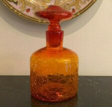 New listing Vintage Hand Blown Glass Amberina Tangerine Crackle Decanter