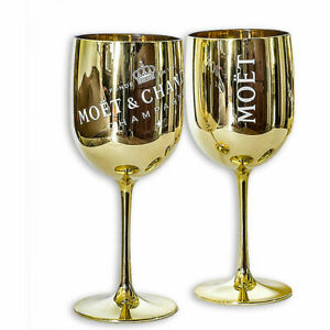 Moet Chandon Imperial Gold Acrylic Champagne Goblet Glass - Set of 2 New