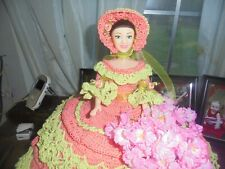 Crocheted Bed doll (Salmon and Green )