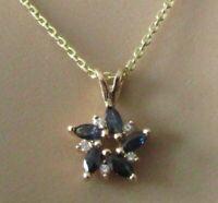 9ct Gold Necklace - 9ct Yellow Gold Sapphire & Diamond Swirl Pendant & Chain