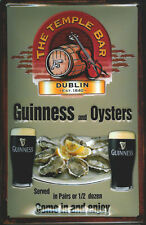 GUINNESS AND OYSTERS Vintage Metal Pub Sign | 3D Embossed Steel | Home Bar