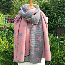 STARS STAR SCARF PINK & GREY CRINKLE & REVERSIBLE LADIES WOOL & COTTON BLEND