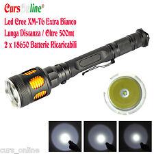 Torcia Led CREE XM-L T6 2Batterie 18650 Lunga Distanza Luce Bianca SUPER POTENTE