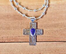 Purple Charoite Cross Pendant with Sterling Silver beaded necklace Handcrafted