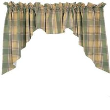 Swag Set 2 Panels & 1 Valance Plaid Green Yellow Cotton Lined