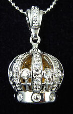 Sterling Silver 3D Royal CROWN with Acrylic Bead and Cz Pendant Necklace UNIQUE
