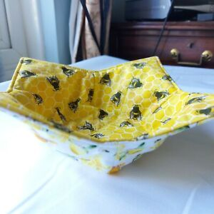 Honey Bee Bowl Cosy   Reversible Cotton Soup Cozy   Insulated & Microwaveable