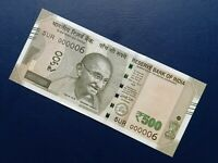 India New 500 Rupees Low Serial Banknote 000006 UNC