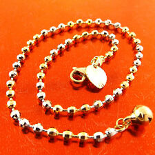 Fsa369 Genuine 18K Yellow & White G/F Gold Antique Bead Charm Bracelet Anklet