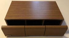 Cassette Tape Holder Storage Case 3 Drawer 36 Tapes Wood Grain Vintage TEAC