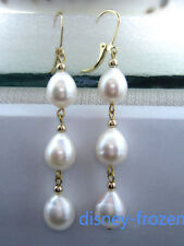 Gorgeous AAA+ 10-12mm real natural south sea white baroque pearl earrings 14k