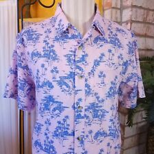 Columbia PFG Fishing Shirt Short Sleeve Vented Large Palms Print