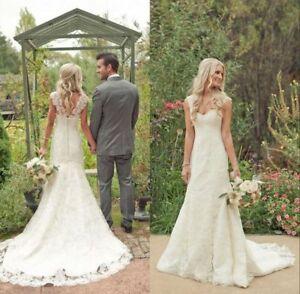 Vintage Lace Wedding Dresses Country Bridal Dresses Custom Size 0 2 4 6 8 10 12