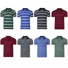 MENS POLO SHIRTS CASUAL STRIPED T-SHIRTS GOLF SPORTS CLASSIC COLLARED TEE TOPS