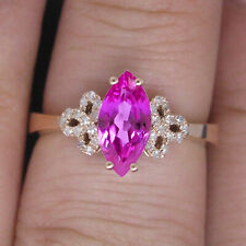1.55Ct 14KT Solid Yellow Gold Natural Pink Tourmaline EGL Certified Diamond Ring