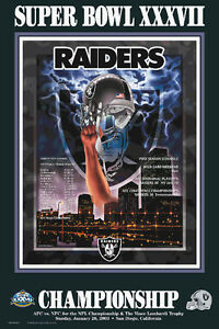 Oakland Raiders Super Bowl XXXVII (2003) AFC Champions Commemorative POSTER