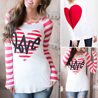 Fashion Women Tee Valentine's Day Loose O-Neck ELong Leeve Tops T-Shirt Blouse