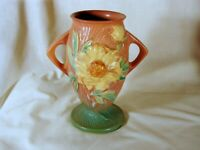 Old Roseville Peony 7in Vase, Green/Pink, Excellent Condition, 61-7, ca. 1942