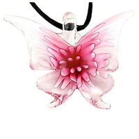 Handmade Lebensechte Schmetterling Lampwork Kunst Glasperlen Anhänger Halsk Y8E6
