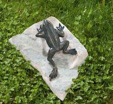 Bronzefigur Frosch Kletterfrosch 17,5cm Rottenecker Bronze Skulptur Gartenfigur