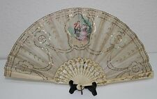 Ab121 Antique Fan. Carved Sticks. Hand Painted Silk. France. Early 19th Century