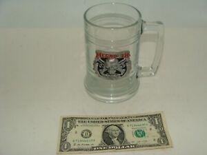 "RARE MEGADETH - Heavy Glass Beer Stein Mug With Megadeth Pewter Emblem - 5"" Tall"