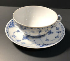 Royal Copenhagen Blue Fluted Half Lace Flat Coffee Cup 1130 - Saucer 525/626/656