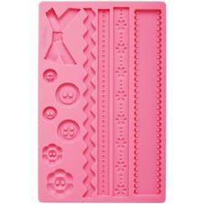 Wilton Fabric Fondant Gum Paste Accents Silicone Decorating Cake Sugarcraft Mold