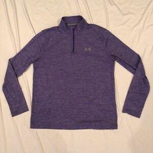 Under Armour Men's HeatGear 1/4 Zip Pullover Shirt Heathered Purple Size L