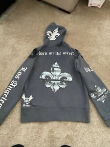 Smet Born On The Street Hoodie Men's Size 2X Large Gray Skull Christian Audigier