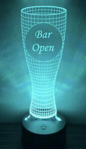Engraved LED Neon Multi Colour Pint Glass Night Light - Bar Open Sign