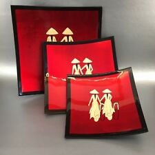 Brilliant Red Lacquerware Japanese Asian Set Of 3 Vintage Serving Plates Chinese