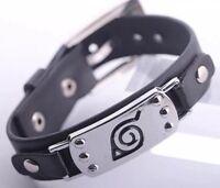 "Naruto Black Leaf Village Wristband Bracelet Cosplay Anime 8.5"" US Seller"