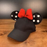 Disney Parks Baseball Adult Cap Hat Black Minnie Mouse Ears Polka Dot Red Bow