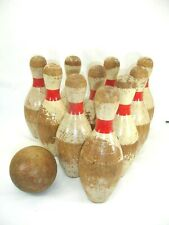 Antique Wooden Kids Bowling Pins and Ball, 10 Pins, 1 Ball, Pins 10 In. Tall