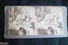 STA994 Japan Kyoto atelier poterie ceramique albumen 1900 STEREO stereoview