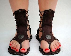 WOMEN'S ROMAN SANDALS BROWN ANKLE-HiGH
