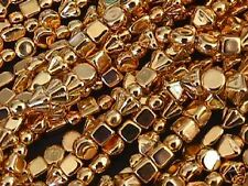 24kt Gold Coated 4mm Cube Mix Czech Beads 20 pc