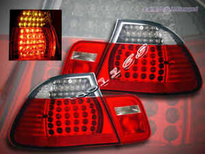 99-03 BMW E46 TAIL LIGHTS RED LED COUPE 2 DOOR 325 330 328 00 01 02