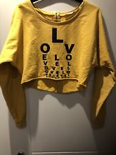 Mustard Crop Sweat Top Size 10 Denim Co Long Sleeve Black Graphics Hardly Worn