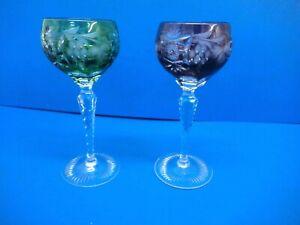 PAIR OF VINTAGE  COLOURED CRYSTAL  HOCK GLASSES -  17.5 CM TALL