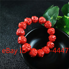 Natural Red Organic Cinnabar Amulet Hot Elastic Four Sided Buddha Bead Bracelet